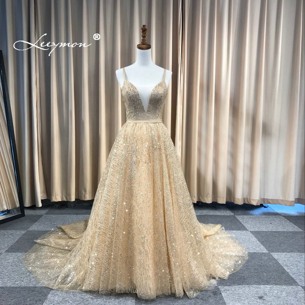 Leeymon Free Shipping Sexy Glitter Deep V-Neck Evening Dresses Elegant A  Line Backless Cheap Shining Long Dress for Prom Party d4a70367dee7
