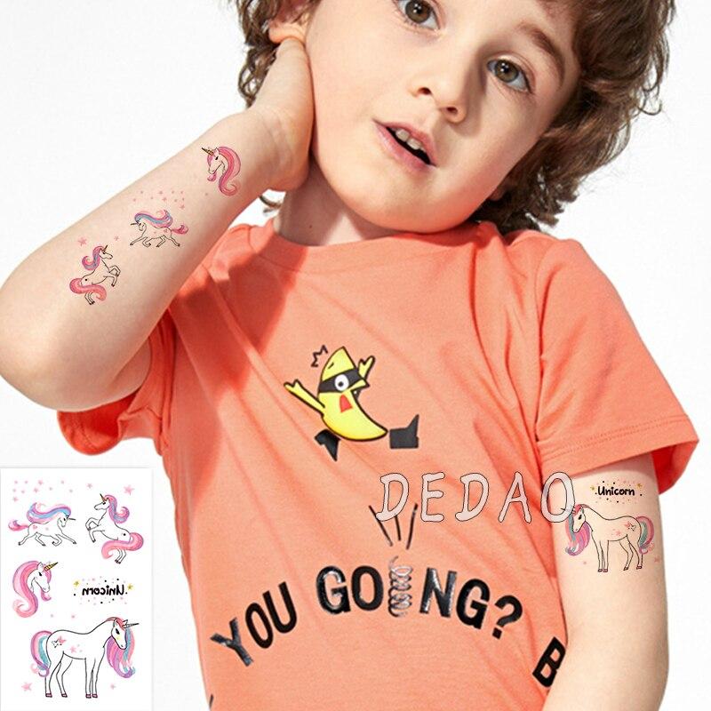 Waterproof Temporary Tattoo Sticker Cute Unicorn Fake Tatoo Tatouage Temporaire Flash Tatto hand foot For Kids Children Girl 5