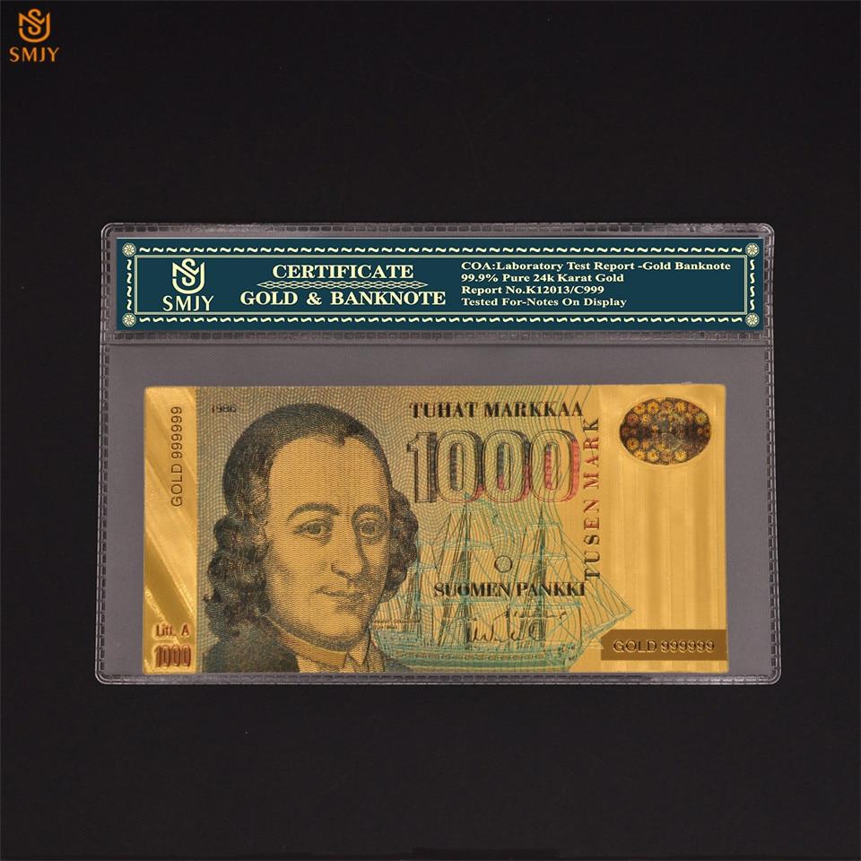 Billetes falsos de oro de 24 quilates, nuevo producto de Finlandia, dinero de oro de 1000 euros con COA, regalo de negocios y colección de billetes de Euro
