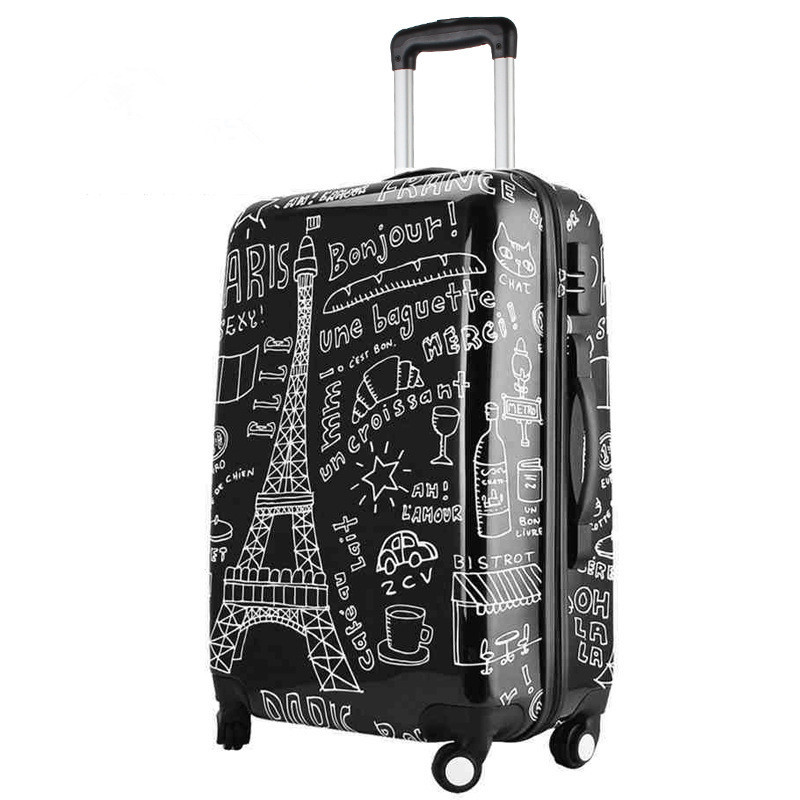 Couples graffiti board chassis 20-inch trolley Caster women suitcase wheels rolling Luggage travel luggage case valise bagages стоимость