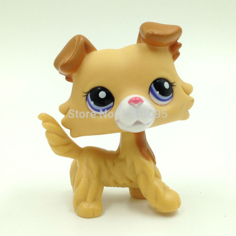 pet shop lps toys dog COLLIE #2452 Yellow Puppy Toy Gril Collie Dog Without Magnet lps new style lps toy bag 32pcs bag little pet shop mini toy animal cat patrulla canina dog action figures kids toys