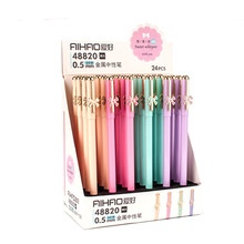 цены 24 Pcs/set Gel Pen Butterfly Metal Shell Black Colored Kawaii Gift Gel-ink Pen For Writing Cute Stationery Office School Supply