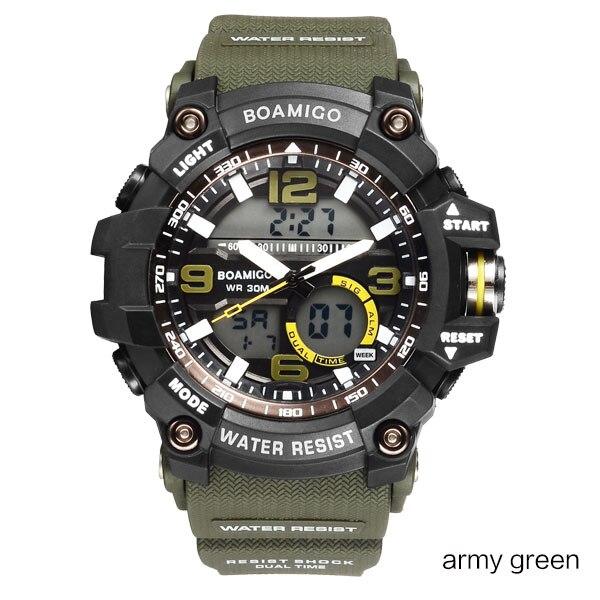 BOAMIGO Brand Men Sports Watches LED Digital Analog Wrist Watch Swim Waterproof Yellow Rubber Gift Clock Relogios Masculino