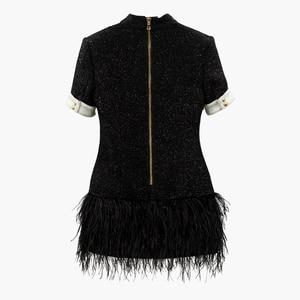 Image 3 - HIGH STREET 2020 Più Nuovo Vestito Alla Moda Bottoni del Blocchetto di Colore del Metallo delle Donne Della Piuma Vestito Decorato