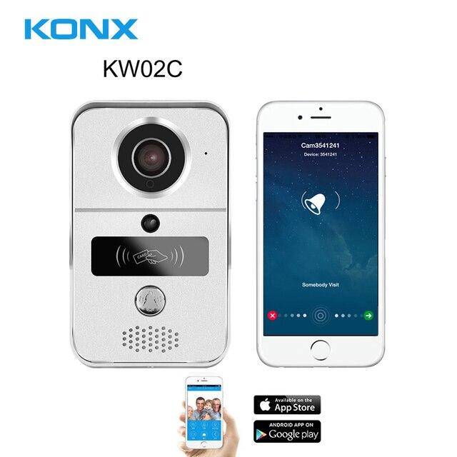を KONX スマート 720 1080p ホーム WiFi ビデオドア電話インターホンドアベルワイヤレス解錠のぞき穴カメラドアベル 220 IOS アンドロイド
