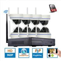 1080P 8CH Wireless NVR CCTV System Wifi 2 0MP IR Outdoor Dome P2P IP Camera Waterproof