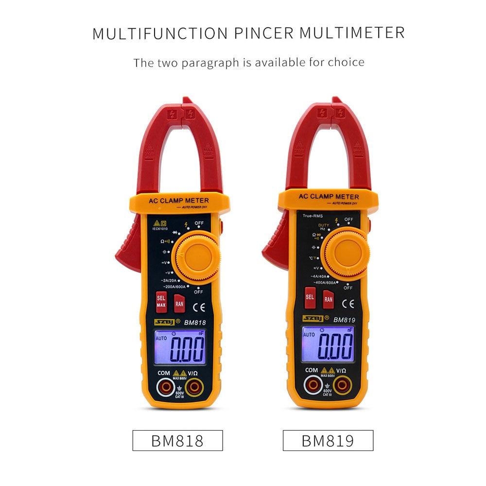 SZBJ BM818 BM819 Ammeter ACV/DCV ACA Auto Range Measurement of large capacitance NCV Digital clamp meter