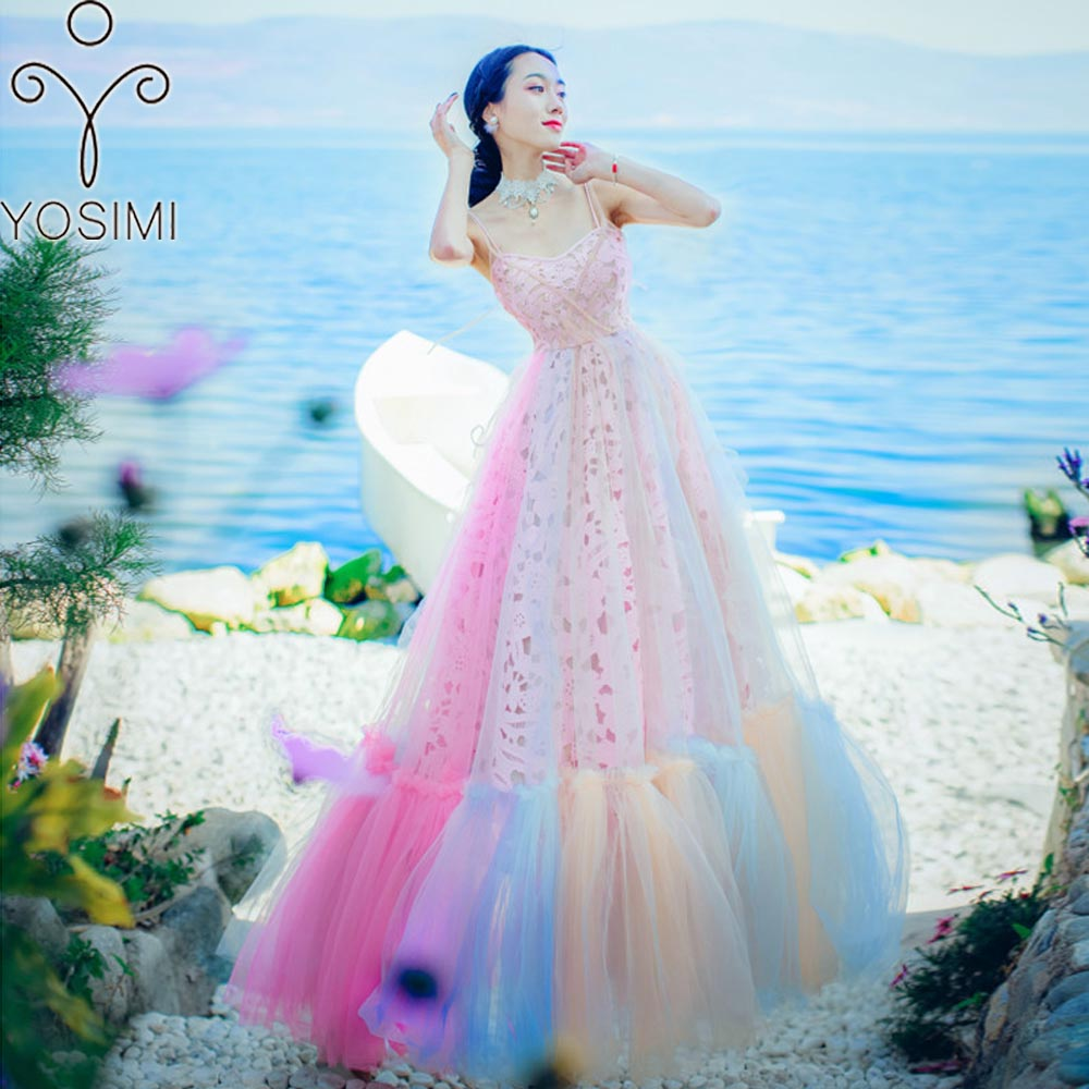 YOSIMI 2018 Summer Maxi Vintage Lace Rainbow Mesh Long Women Dress Backless Sexy Strap Dress Evening Party V-neck Ankle-Length