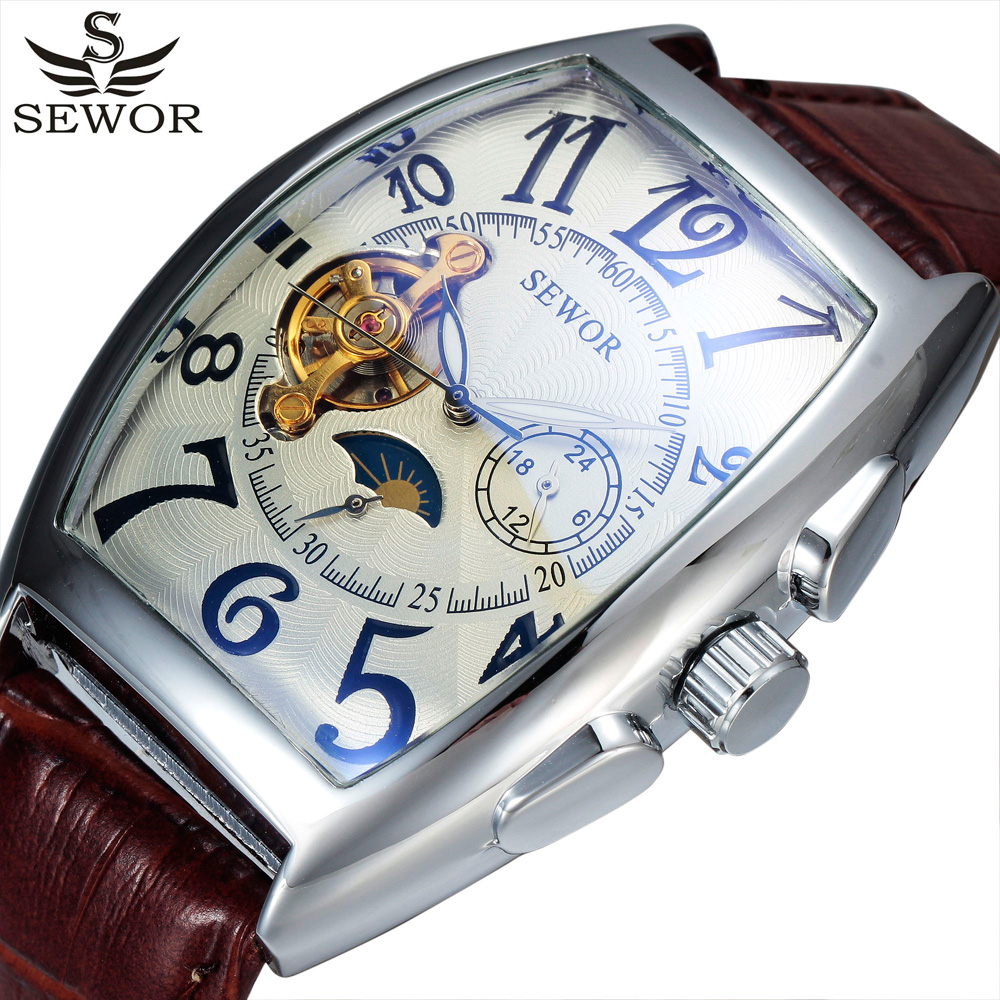 SEWOR Luxury Brand Men Automatic Wristwatches Auto Date Leather Strap Relogio Male Military Clock Men Mechanical Self Wind Watch  все цены