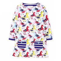 2017 Spring Girls Dresses Cotton Cute Horse Printing Long Sleeve Kids Dress For Girls Clothes Animal
