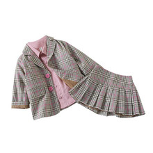 DFXD Children Clothing Sets 2018 High Quality Spring Autumn Long Sleeve Plaid Single-breasted Blazer Coat+Pleated Skirt 1-5Years