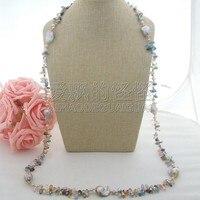 N041801 49'' 25MM Purple Keshi Pearl Multi Color Crystal Necklace