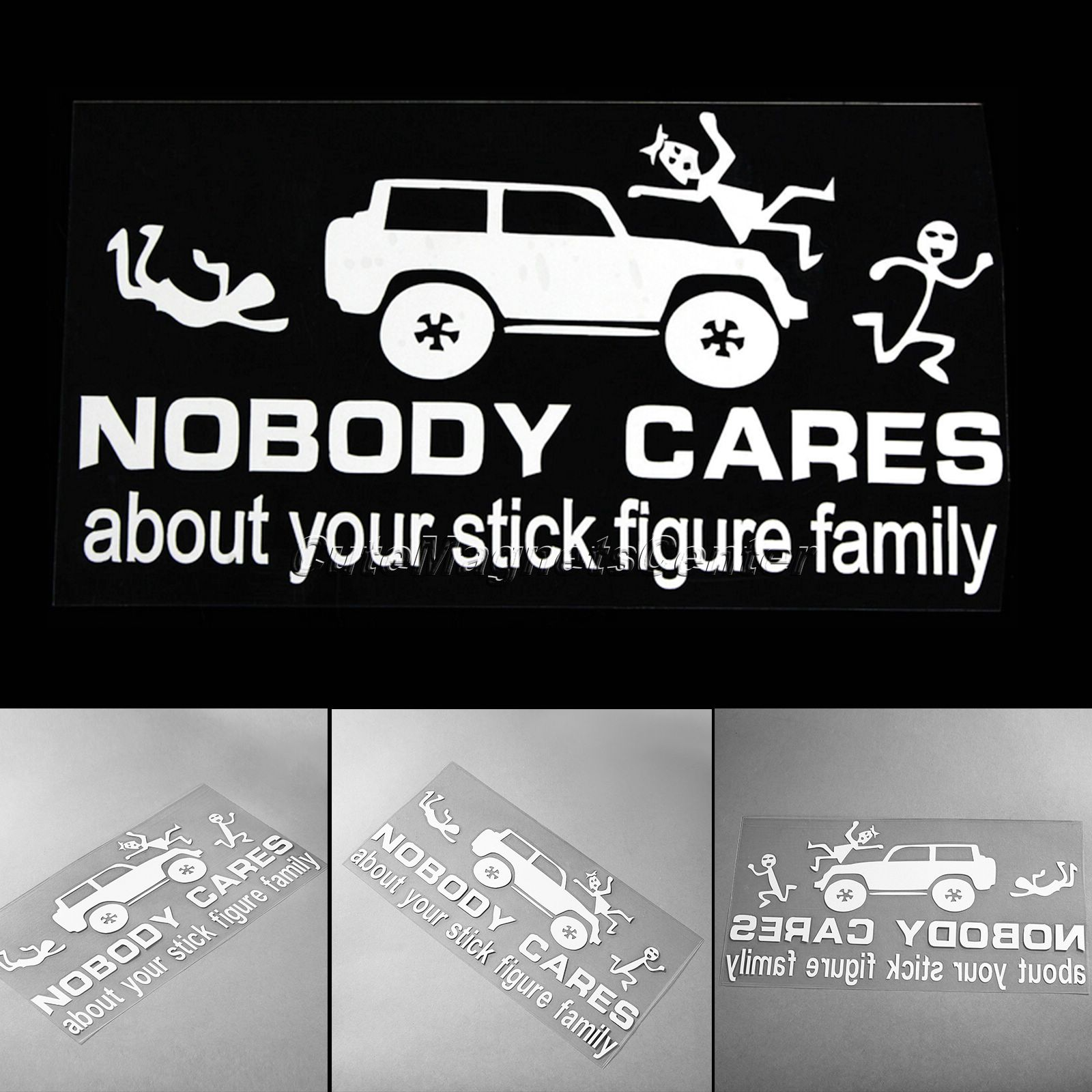 1pc car sticker styling nobody cares about your stick figure farmily viny zombie decals for jeep motorcycle diy stickers on cars in car stickers from