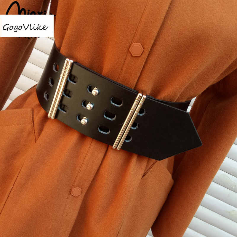 PU Leather Cummerbund Hollow Out Women 2018 Slim Belt Waist Shirt Dress Accessories Wide Waist Belts Punk Metal Buckle BT113S50