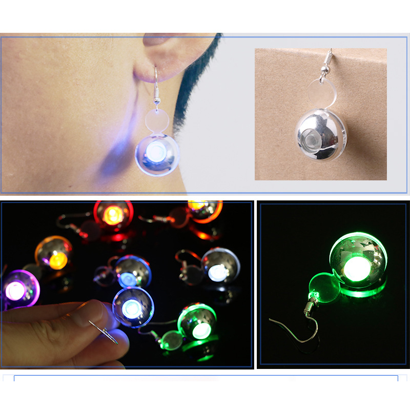 Quadruple Charm 1Pc LED Earring Light Up Round Glowing Ear Drop Novelty Hook Flash Earrings Jewelry Women Party Accessories