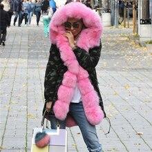 Pelliccia меховым фокс парки воротником настоящее толстые природный зимняя пиджаки камуфляж