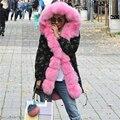 Plus size 2017 novo longa jaqueta de Camuflagem de inverno mulheres outwear grosso casaco com capuz parkas gola de pele de raposa real natural pelliccia
