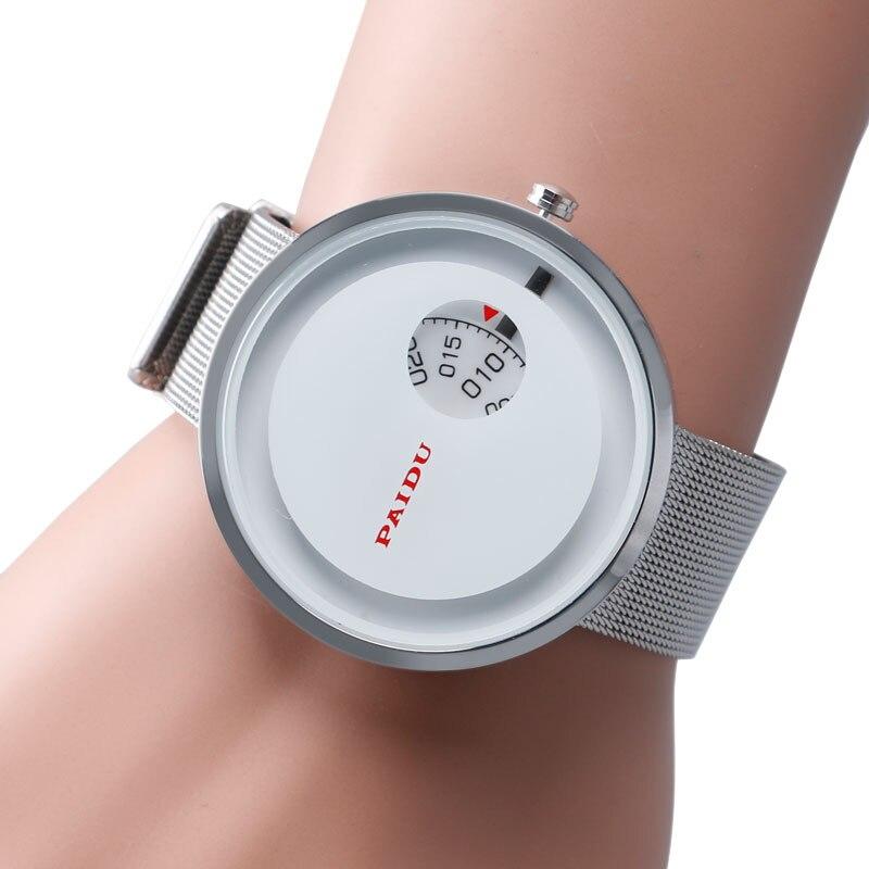 PAIDU Fashion Elegant Turntable Simple Wristwatch Men Women Modern Sport Quartz Stainless Steel Mesh Strap Watches Gift