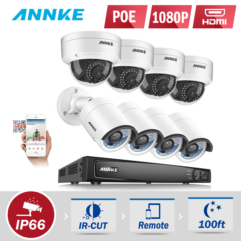 ANNKE Professional 1080P POE Security Camera System 8CH Security NVR With 4x 2MP CCTV Dome Cameras, No HDD