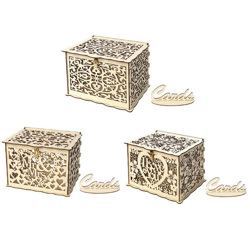 Creative DIY Wooden Hollow Gift Cards Box Container Wedding Party Decor For Home And Bedroom
