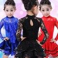Children Latin Dance Dress Girls Winter Long Dance Girls Latin Dance Costumes Latin Ballroom Dance Dresses For Kids Tango Dress