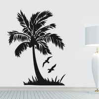 Flying Bird And Palm Tree Wall Sticker Seaside Scenery Bathroom Home Decor DIY Vinyl Removable
