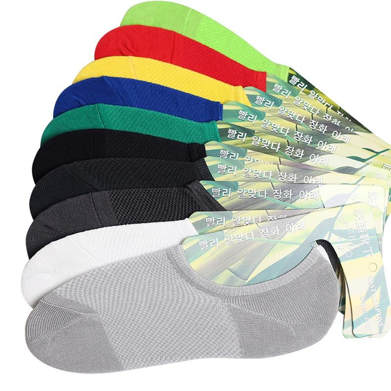 summer men fashion mesh boat socks bamboo fibre non-slip invisible ankle socks male sock slippers 5pairs/lot