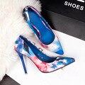 3058-1 Women Spring Summer Pumps High Heels Thin Heel Shoes Floral Pointed Toe Printing Flower Elegant  High-heeled OL Shoes