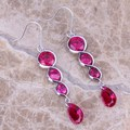 Exquisite Red Created Ruby 925 Sterling Silver  Drop Dangle Earrings For Women  S0210