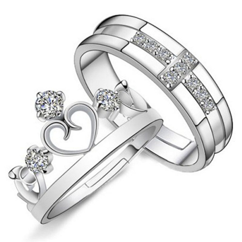 1pc Princess Prince Lovers White Brass 925 Sterlig Silver Jewelry Matching  Couple Rings Promise Engagement Ring