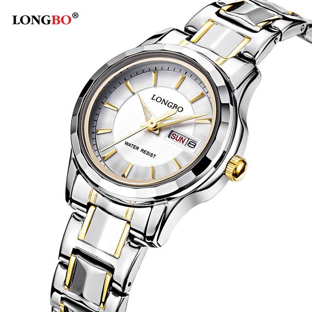 Amantes LONGBO Luxo Casal Relógios Homens Data Dia À Prova D' Água Mulheres Ouro Aço Inoxidável Quartz Relógio de Pulso Montre Homme 80159