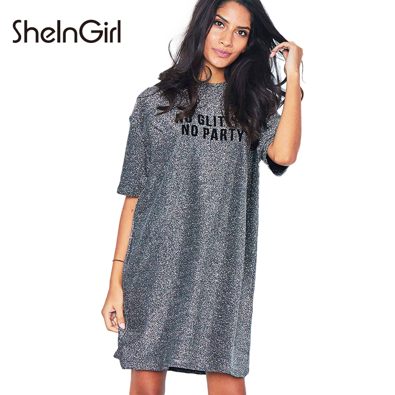 SheInGirl Woman Shiny Sliver Drop Shoulder Letter Printed Shirt Dress H Line Half Sleeve O-Neck Pullover Mini Female Loungewear