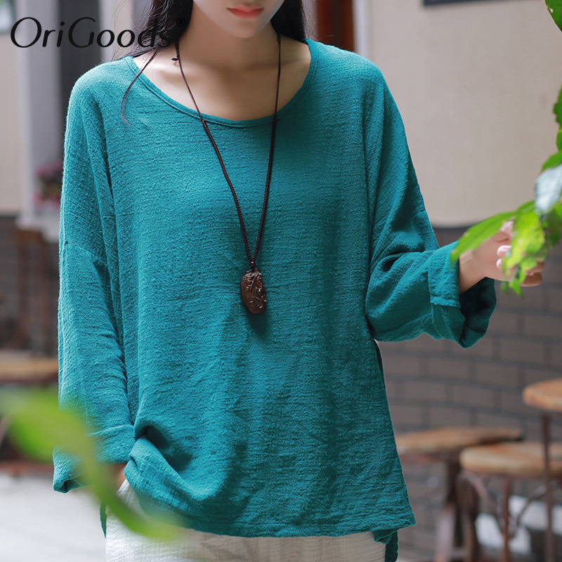 OriGoods Cotton Linen Long sleeve   Blouse   Women O-neck Loose Causal Vintage Summer   Blouse     Shirt   Women Plus size Blusas Tops C125
