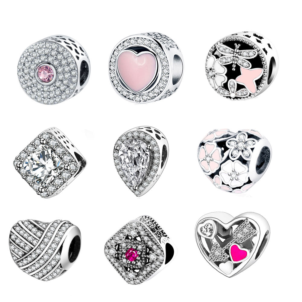 Fit Original Pandora Charm Armband 925 Sterling Silber Charm Bead Rosa Emaille DIY Berloque 2018 Valentinstag Kollektion