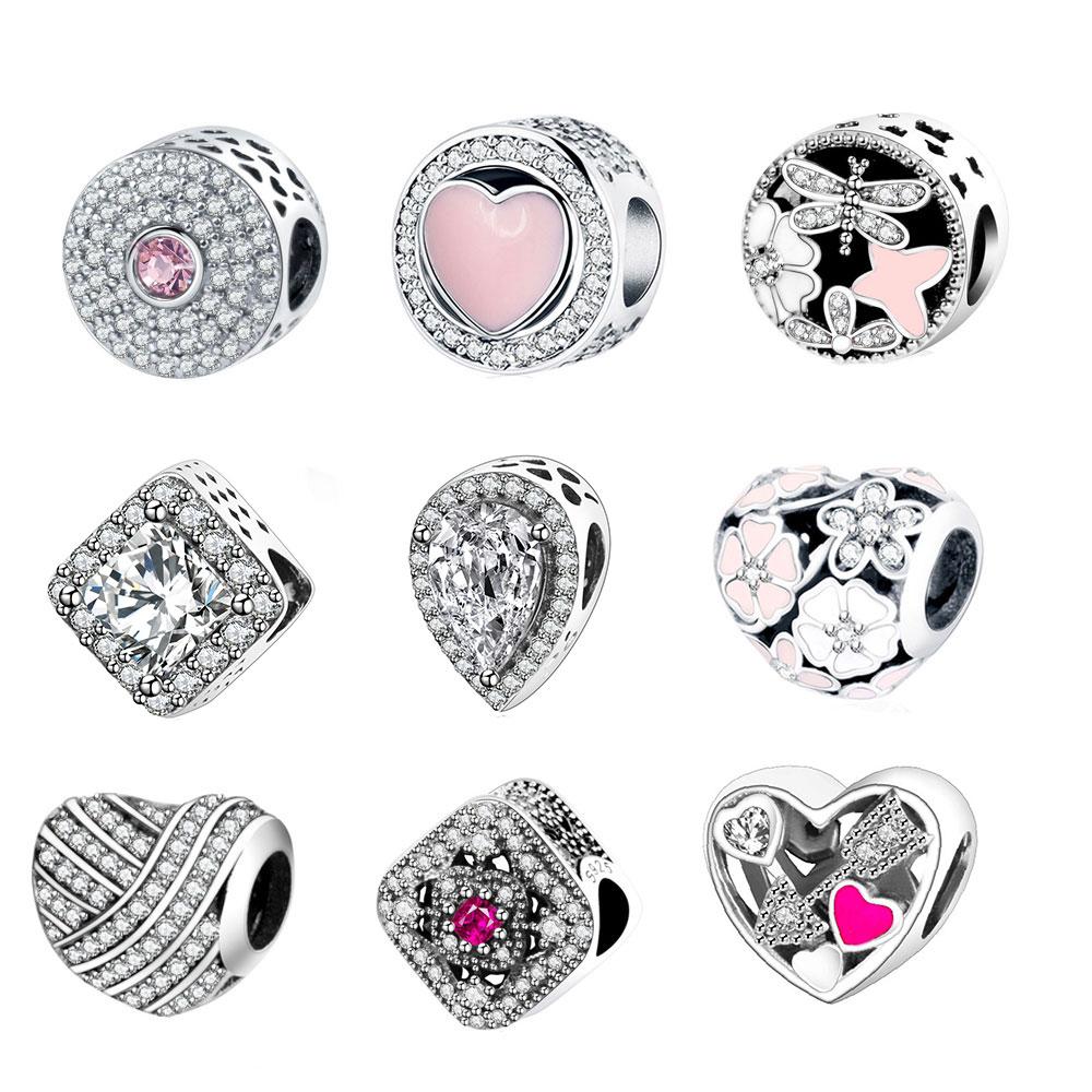 Fit Original Pandora Charm Bracelet 925 Sterling Silver Charm Bead Pink Enamel DIY Berloque 2018 Valentines Day Collection