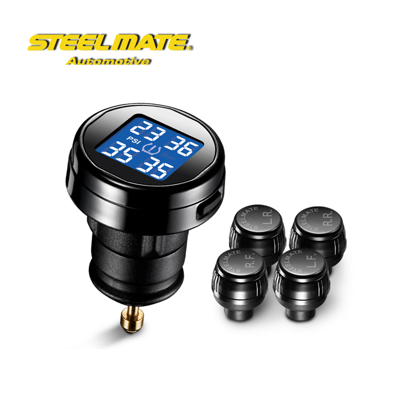 Steelmate Tp P Diy Tpms Tire Pressure Monitoring System Lcd Cigarette Plug Display External Sensor Psi on Tire Pressure Sensor