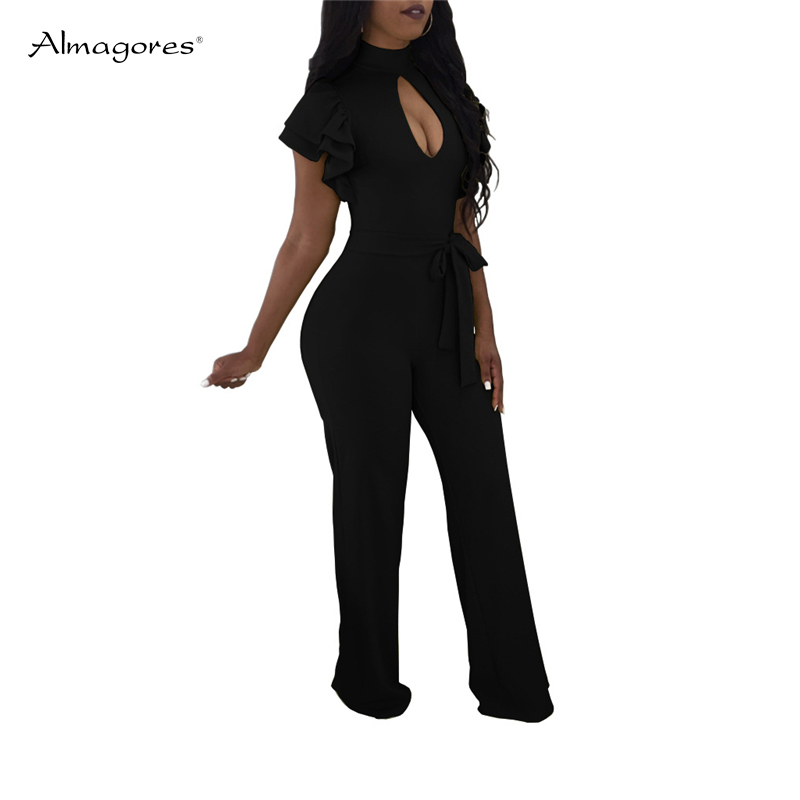 Almagores rompers womens jumpsuit Turtleneck Hollow Out Sexy Women Jumpsuits Ruffle Sleeve Long Wide Leg Pant Overalls plus size