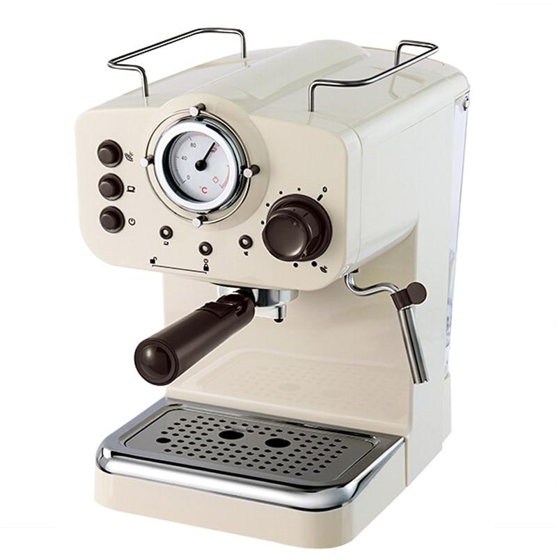 Эспрессо Кофе Maker 15Bar насос Давление Кофе машина Ретро итальянский Кофе Maker Белый полуавтоматическая коммерческих молочных коктейлей
