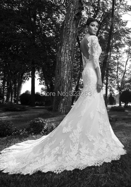Mermaid Style Y Low Back Lace Wedding Dresses With Sleeves 3 4 Length Bridal Fashion