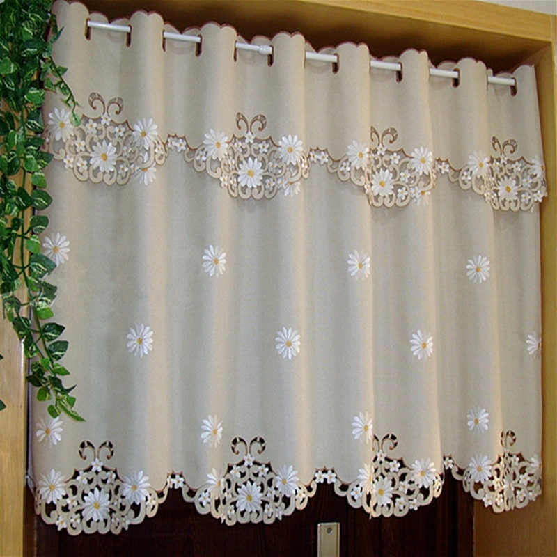 Half-curtain White Sunflower Flower Embroidered Wear Curtain Blackout Curtain Embroidery Hem Curtain for Kitchen Cabinet Door