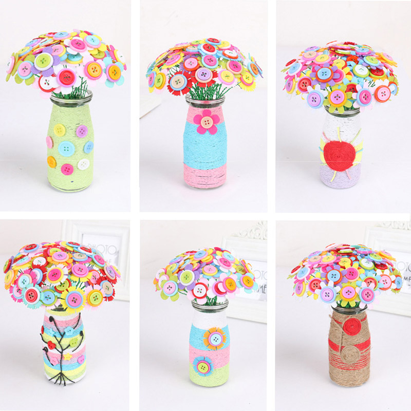Kindergarten Handmade Creative DIY Colorful Button Painting Early ...