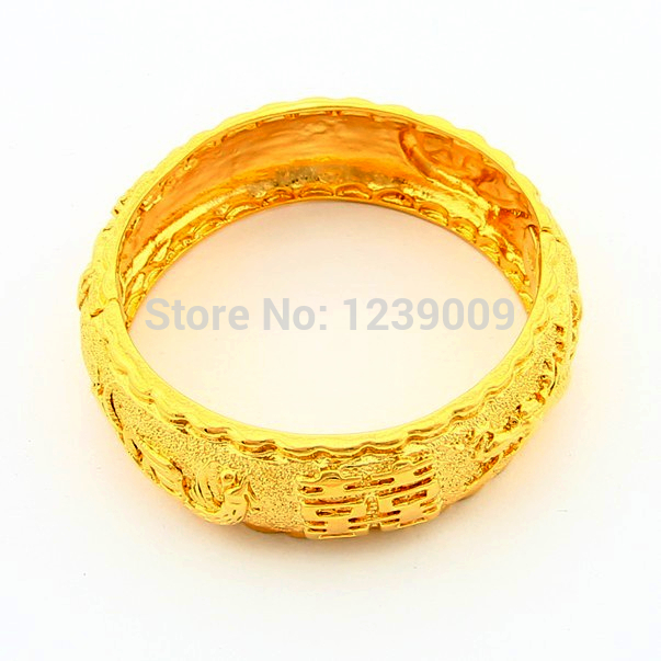 cc3c22eb5 Promotion Price Fashion Jewelry 24K Gold Plated Chinese Meaning Happiness  Bangle Bracelet For Women Weddding Jewelry SJB009-in Bangles from Jewelry  ...