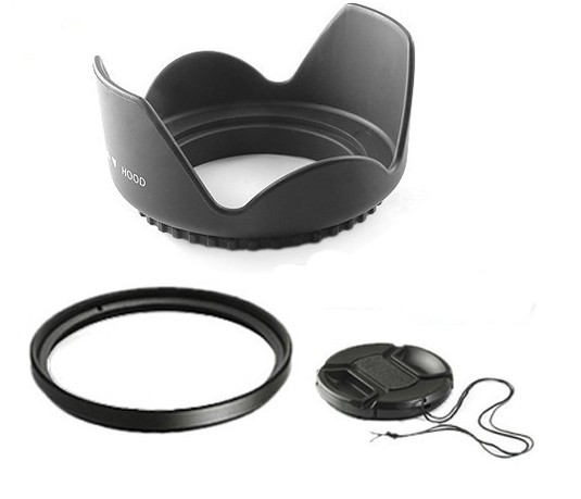52mm 52 mm Flower Lens Hood +UV Filter +Lens Cap for Canon EOS 400D 550D 500D 600D 1100D Nikon D80 D50 D7000 D3100 DS DSLR