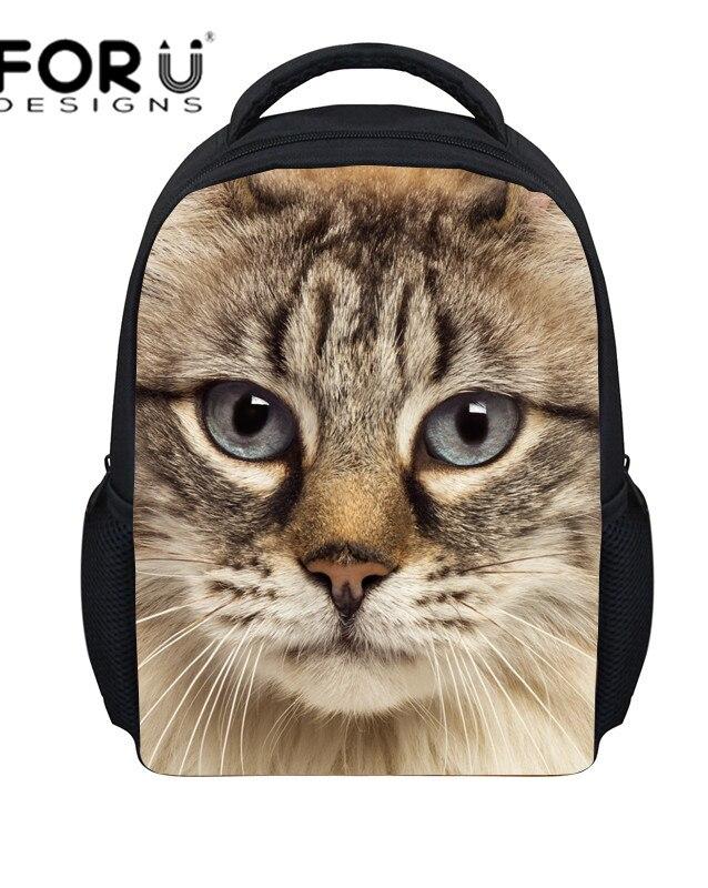 2016 Small Backpack for Kids Girls Fashion Child Baby White Black Cat Printing Backpacks Mochila Infantil Kindergarten Schoolbag