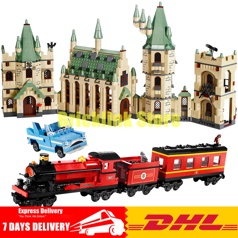 DHL Lepin Movies Series 16030 Hogwarts Castle School+ 16031 Hogwarts Express Education Building Blocks Bricks Model Toys lepin 16030 1340pcs movie series hogwarts city model building blocks bricks toys for children pirate caribbean gift