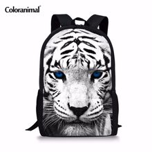 Coloranimal With Black White Leopard Tiger Children School Backpack Trendy  3D Animal Print School Bags for