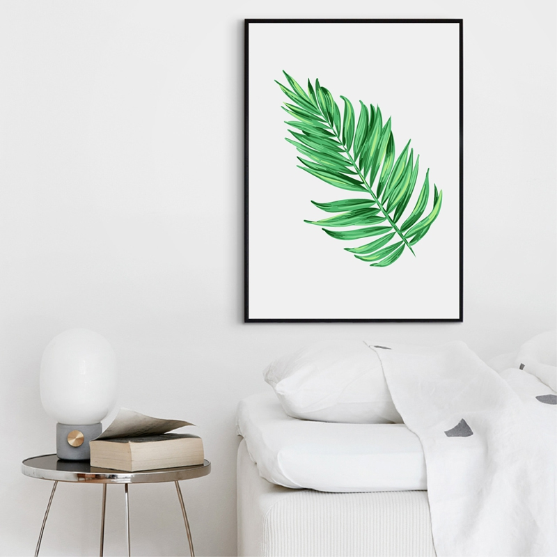 Watercolor Palm Tree Branches Canvas Art Print Wall Decor Tropical