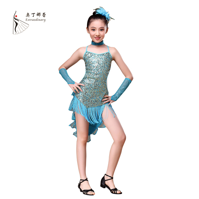 От 5 до 15 лет детские танцевальные наряд с рукавами Блёстки Костюмы для латиноамериканских танцев Платья для женщин для Обувь для девочек спинки бахрома Костюмы для бальных танцев Костюмы для латиноамериканских танцев платье для Обувь для девочек