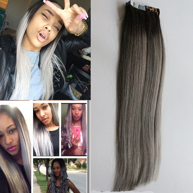 Grey tape hair extensions 1bgrey ombre tape hair extensions 100g grey tape hair extensions 1bgrey ombre tape hair extensions 100g apply tape adhesive pmusecretfo Gallery