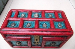Superb wood inlay Nepal turkus Czerwony koral jewel box|box box|box redbox jewel -